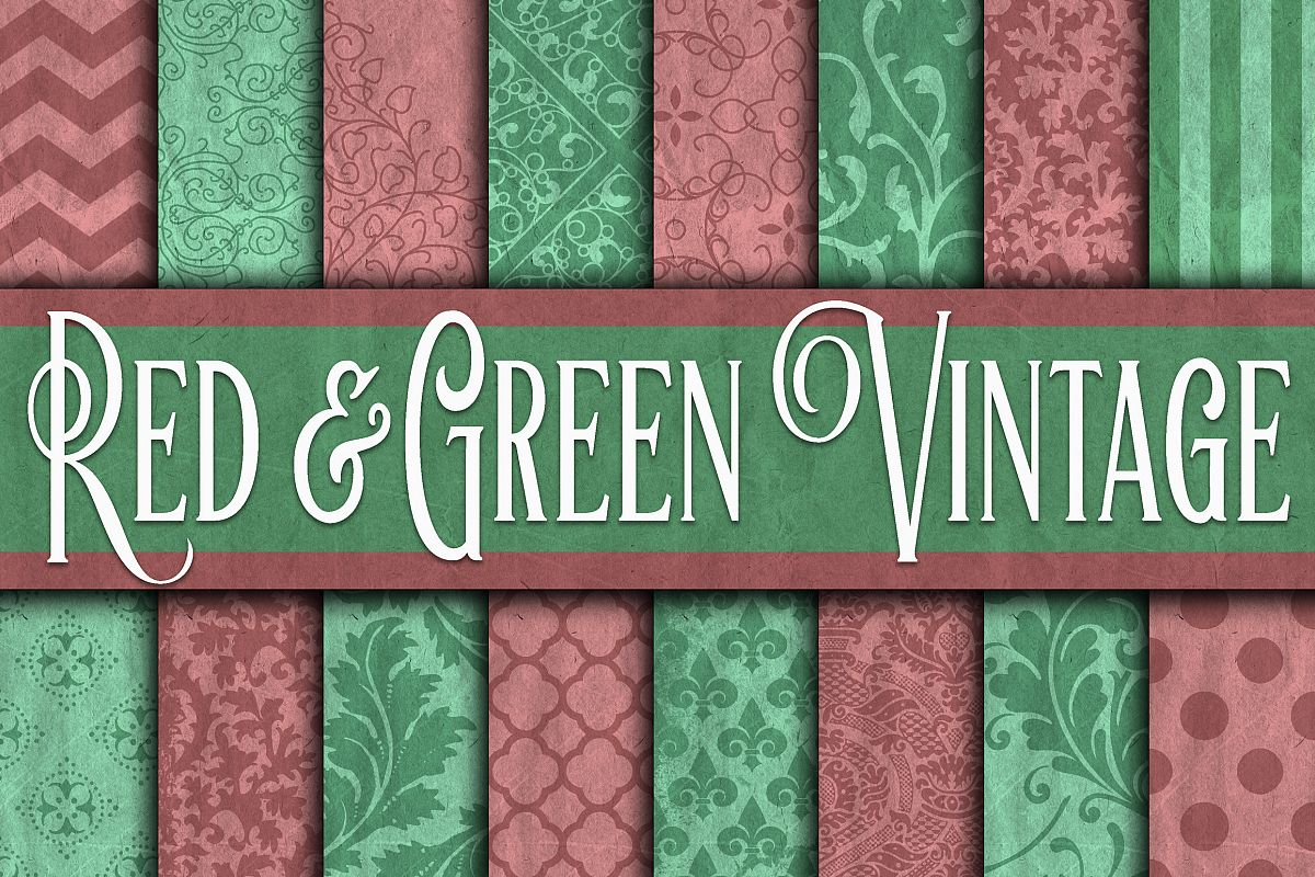 Vintage Red & Green Digital Paper - Christmas Digital Paper example image 1