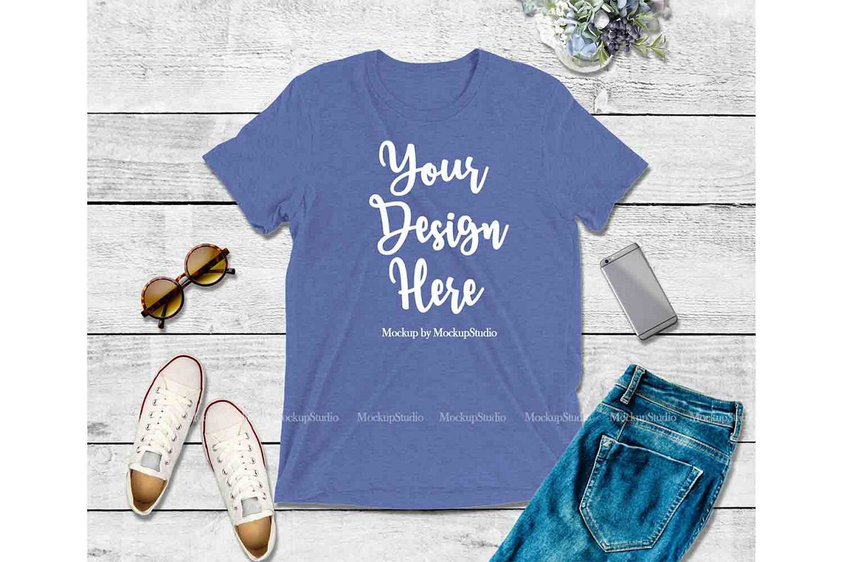 Blue Shirt Mock Up, Bella Canvas 3413 Tshirt Mockup Display example image 1