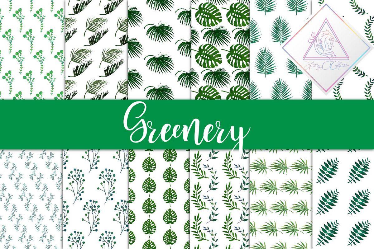 Greenery Digital Paper example image 1