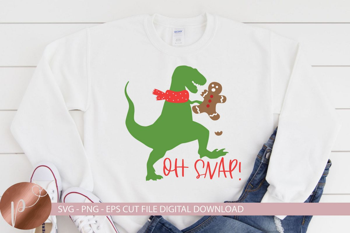 Oh Snap Svg, Christmas Dinosaur, Gingerbread Funny Cut File example image 1