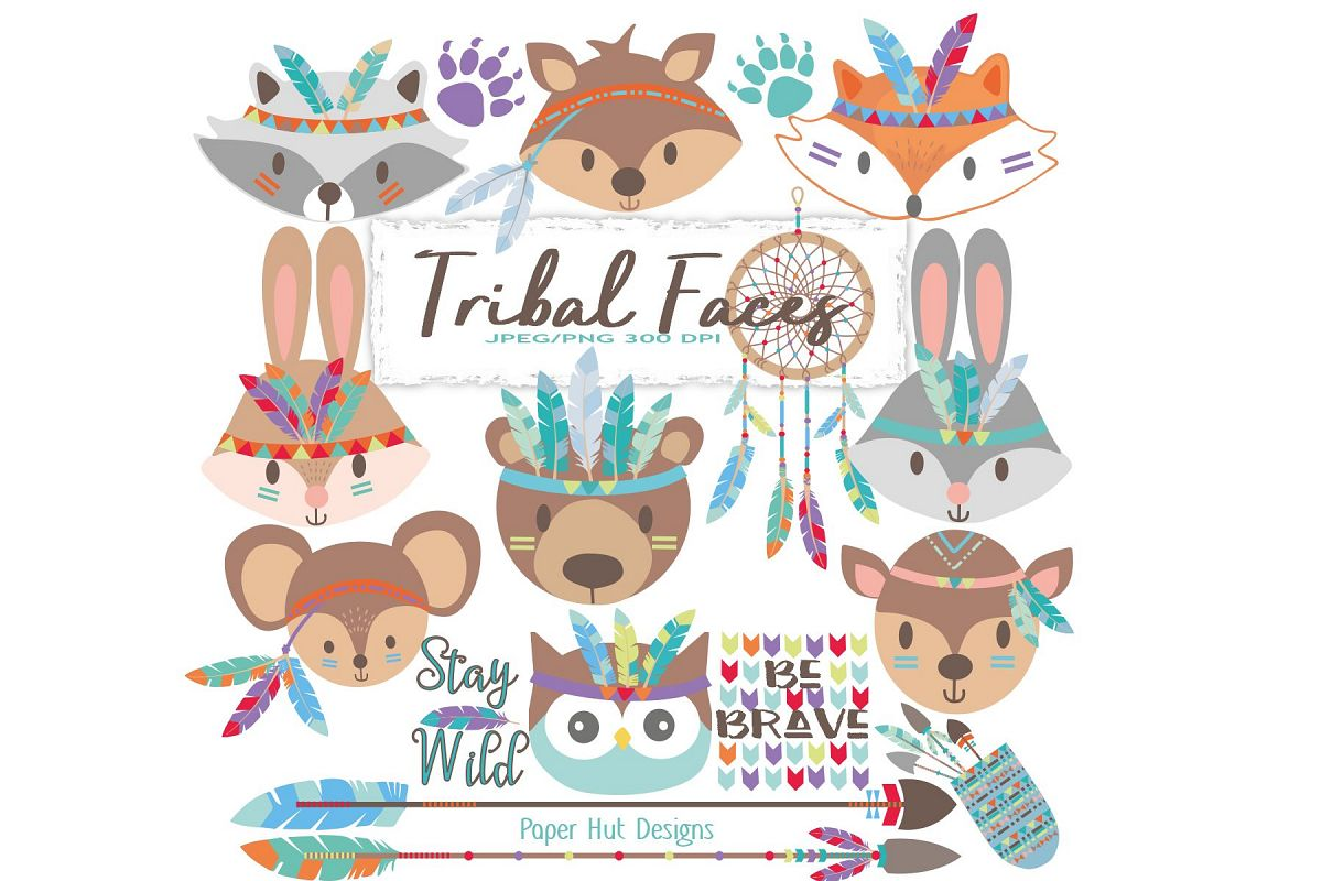Tribal Animals Faces Clipart example image 1
