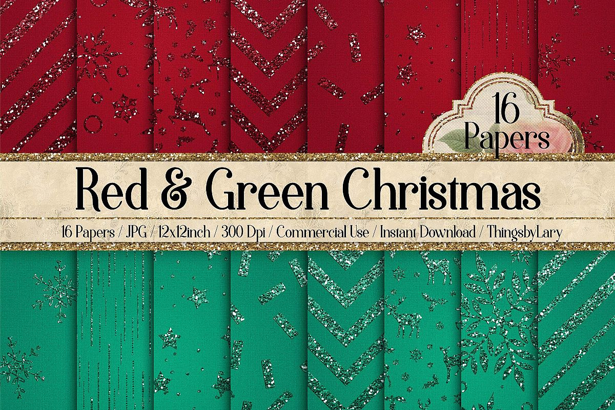 16 Red and Green Glitter Christmas Printable Digital Papers example image 1