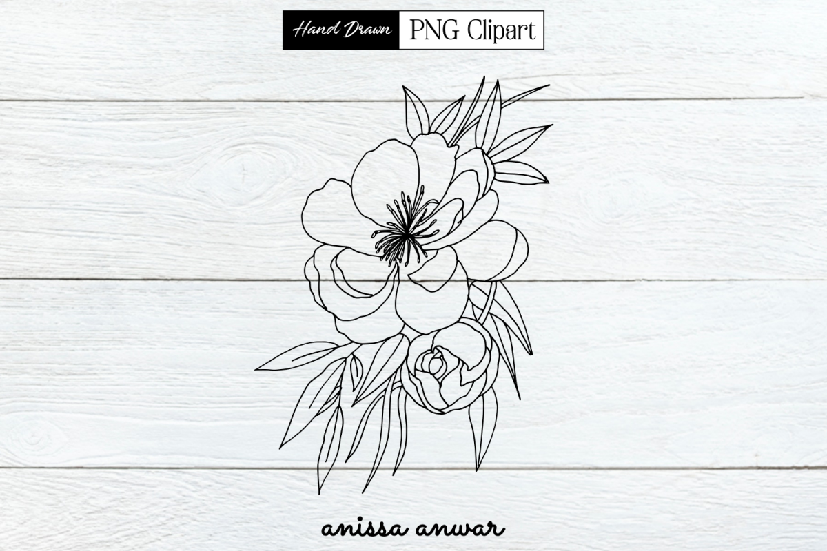 Flower Line Art, Png Clipart, Sublimation Printable example image 1