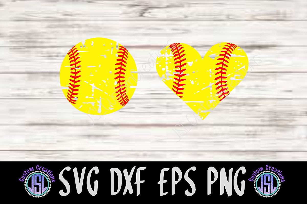 Distressed Softball Set Of 2 Bundle Svg Dxf Eps Png File