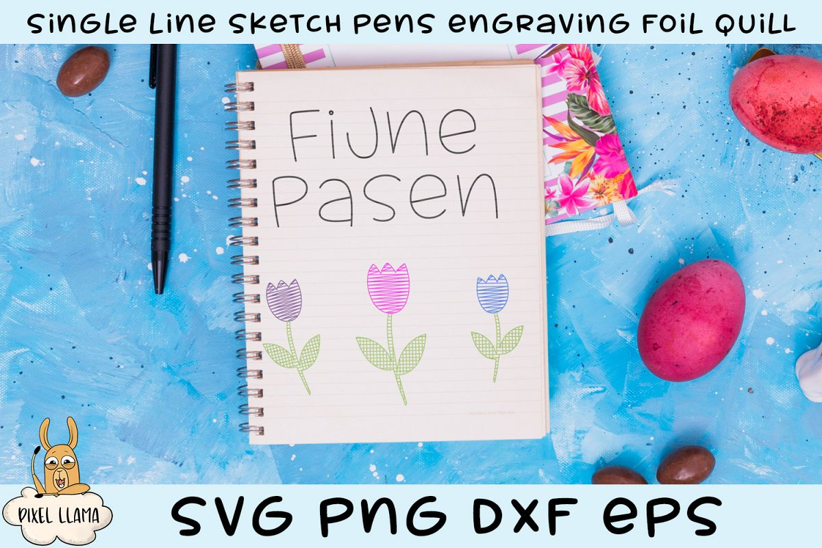 Happy Easter Dutch Single Line Sketch Foil Quill example image 1
