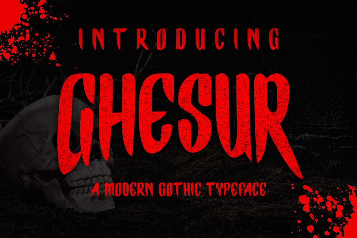 Ghesur - Modern Gothic Horror Serif Sports Typeface example image 1