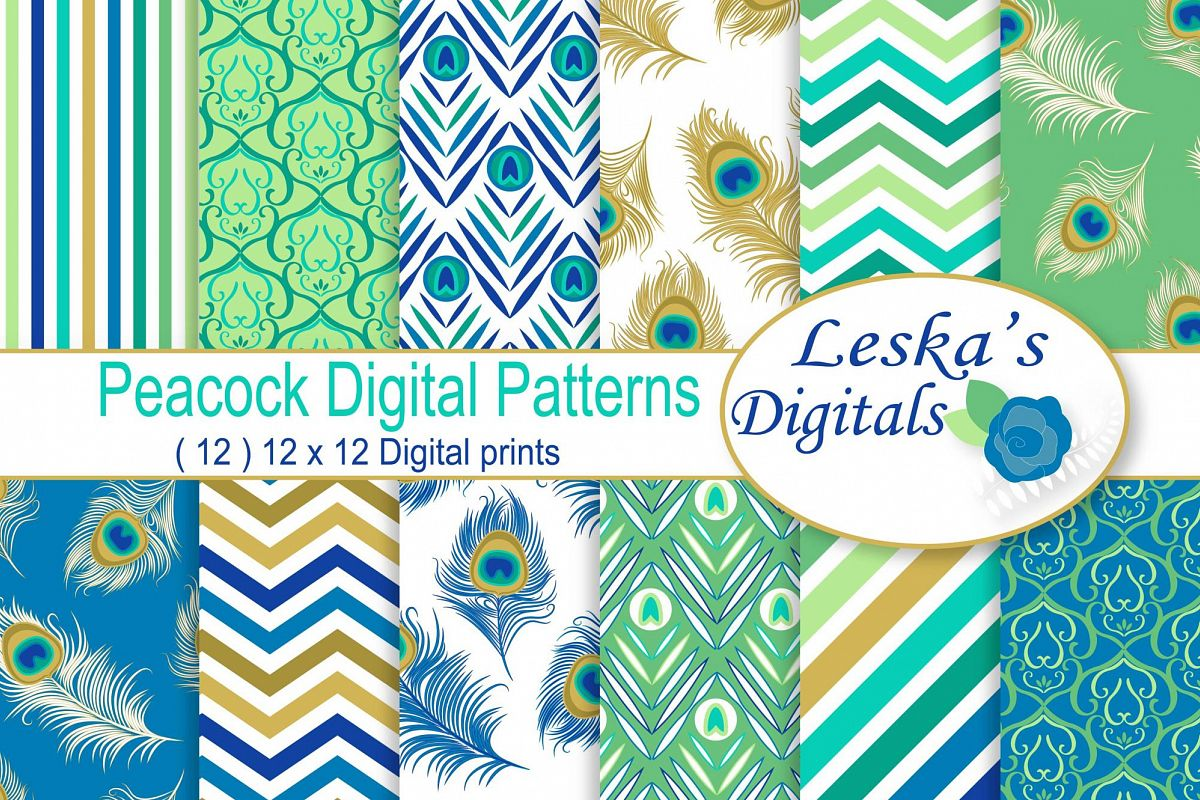 Peacock Digital Paper Patterns example image 1