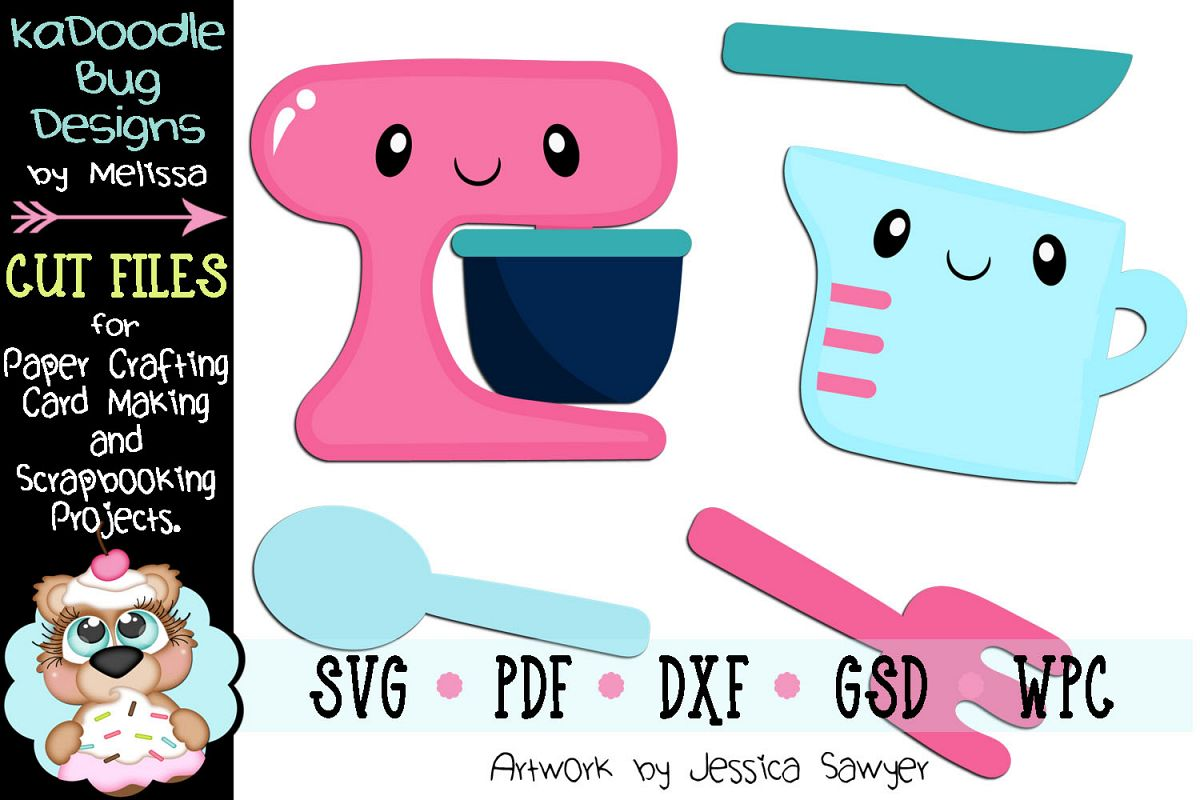 Kawaii Kitchen Mixer Cup Cut File - SVG PDF DXF GSD WPC example image 1