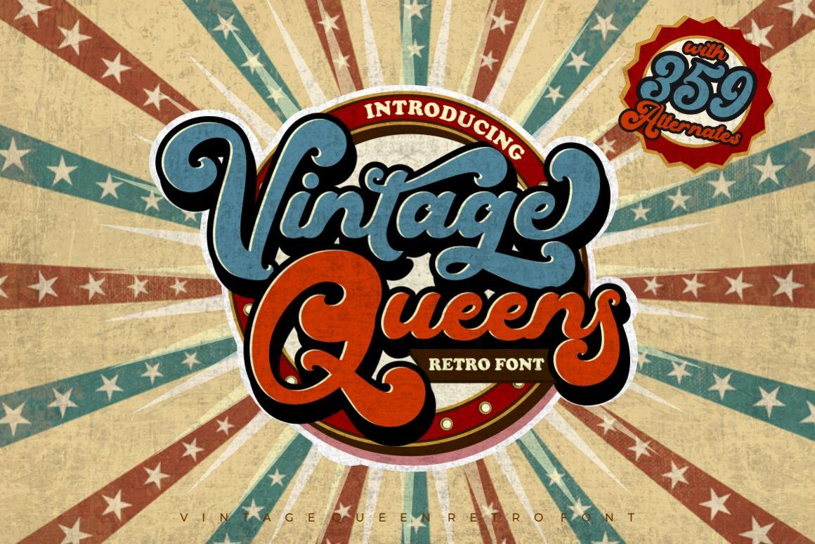 Vintage Queens - Retro Bold Script example image 1