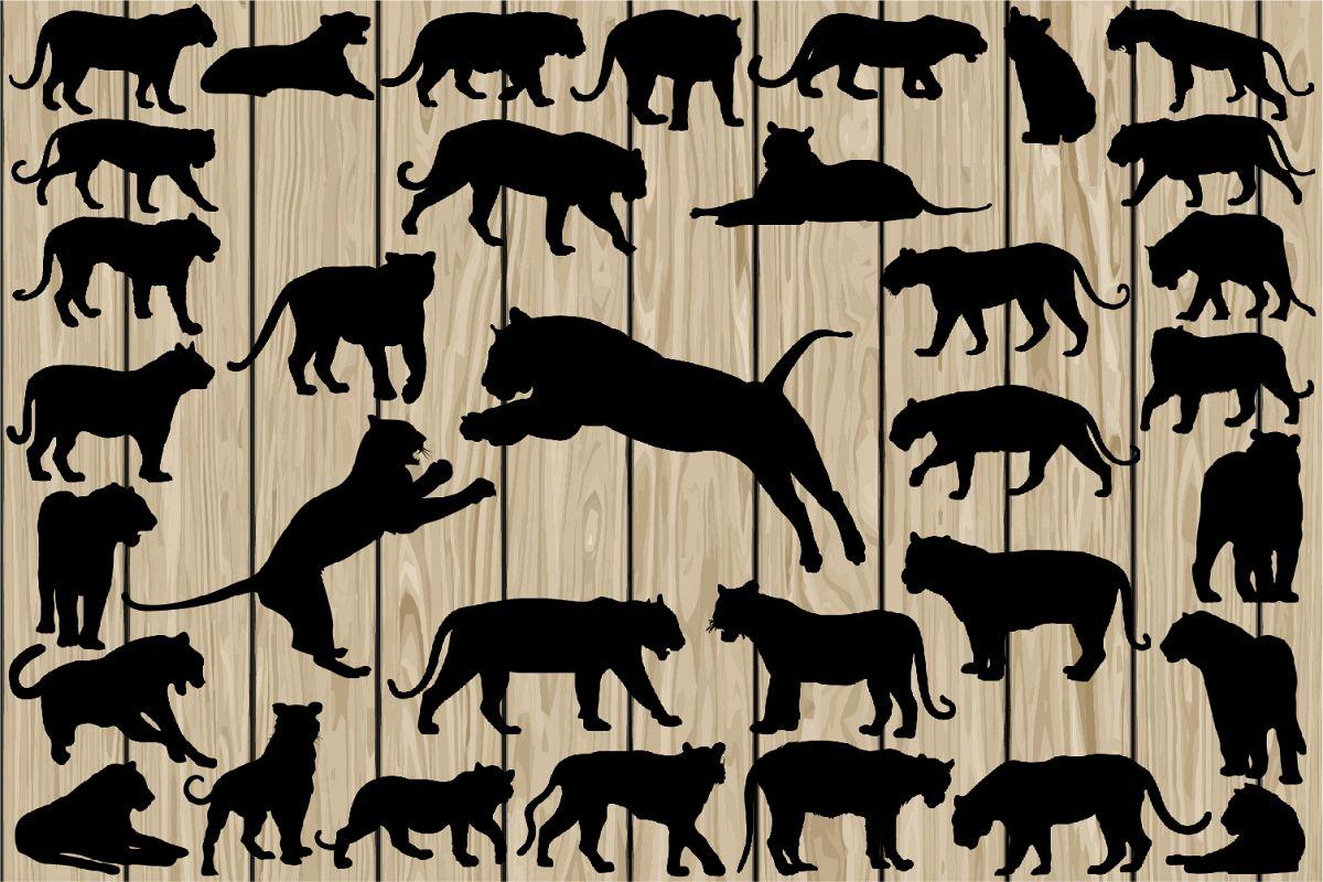 34 tiger silhouette svg tiger vector design bundles