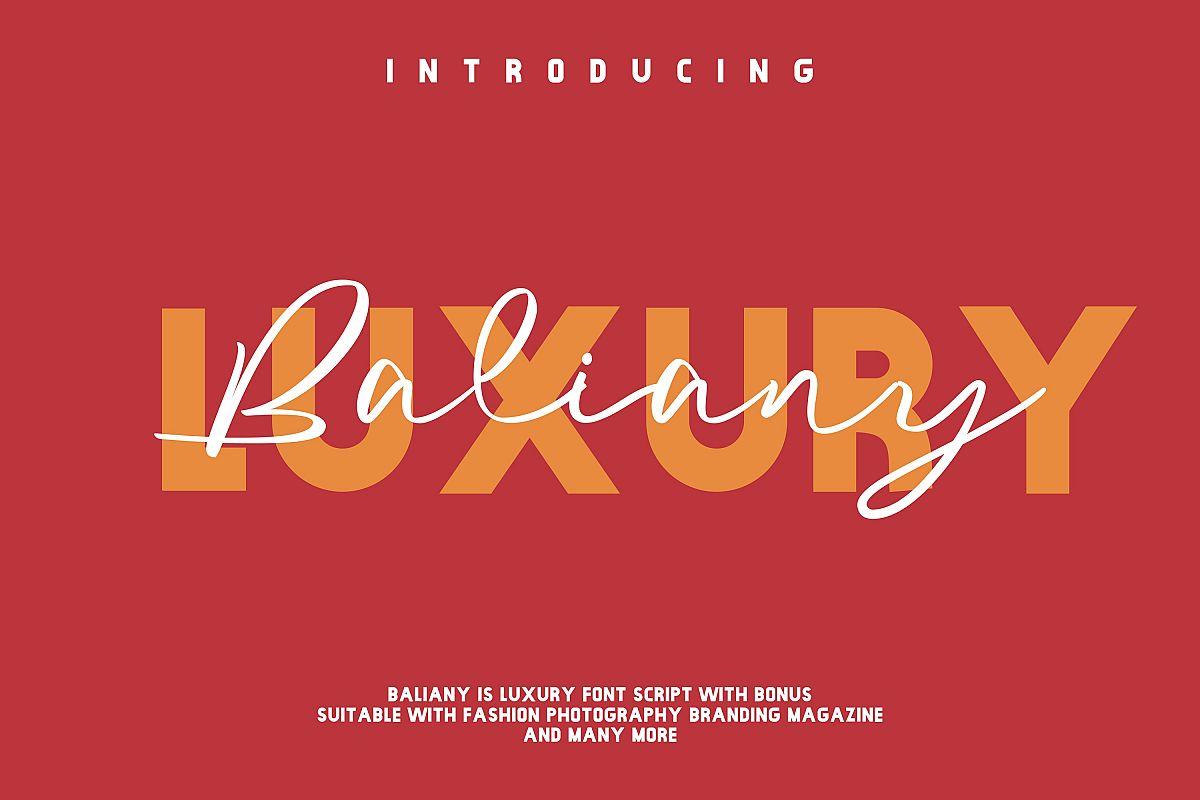 Baliany Luxury Script Font example image 1