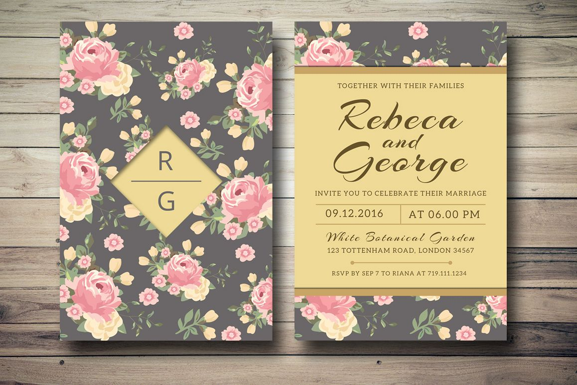 Floral Wedding Invitation example image 1
