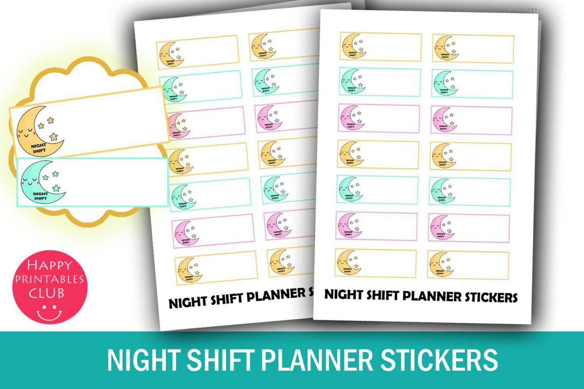 night shift planner stickers work planner stickers kawaii