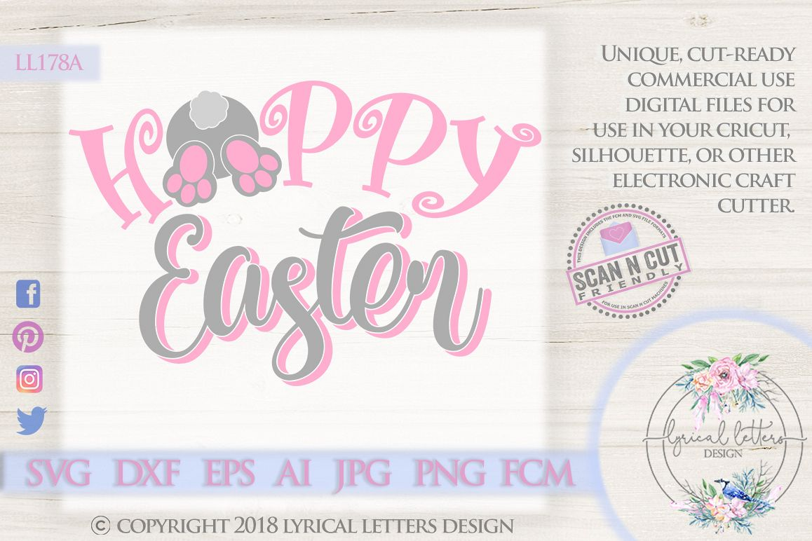 Happy Easter Hoppy Easter Bunny Tail SVG DXF Cut File LL178A example image 1