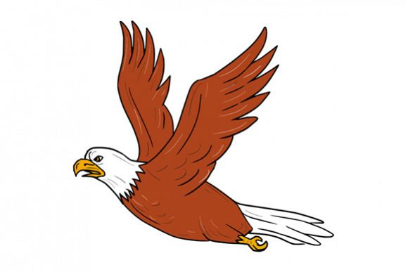 Angry Eagle Flying Cartoon example image 1