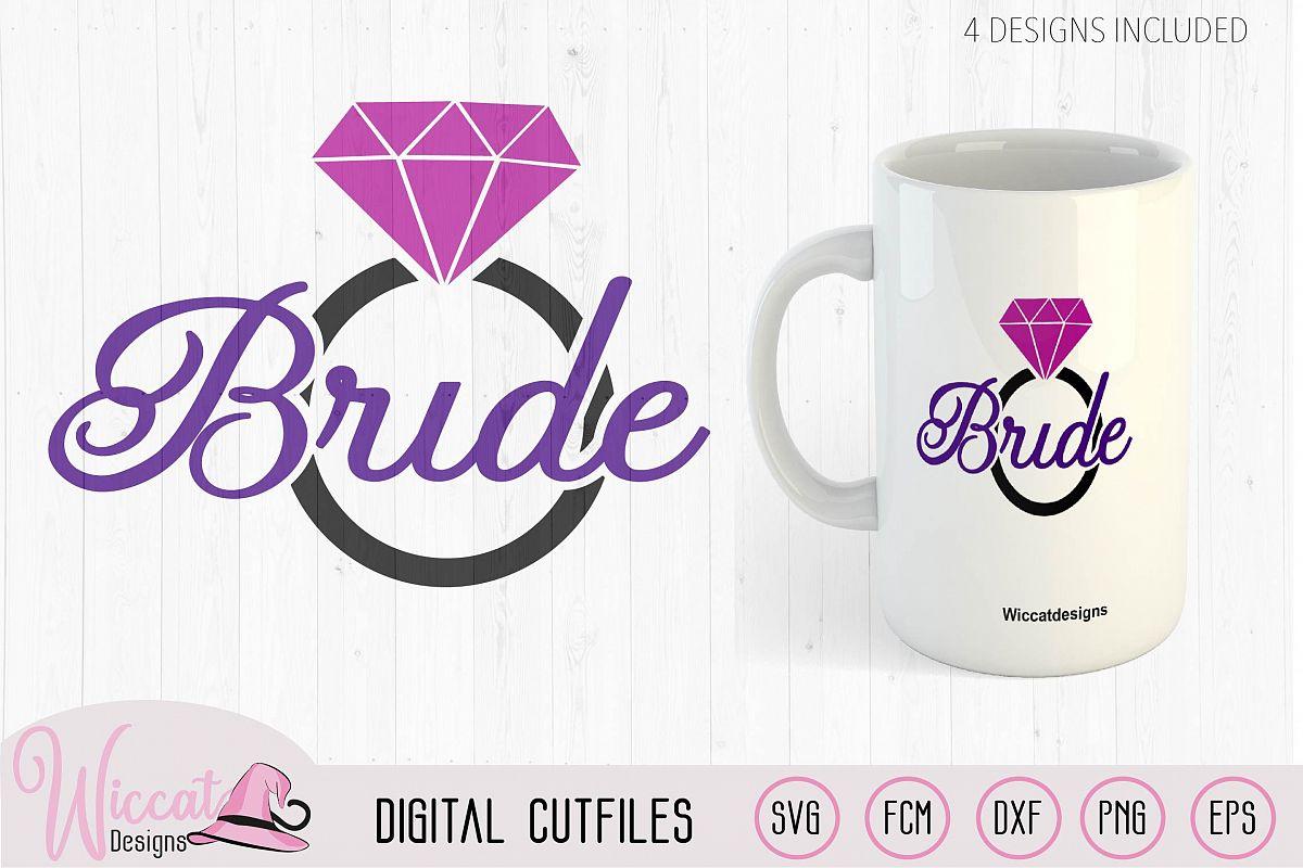 Diamond ring bride svg, women example image 1