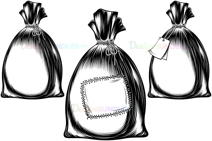 Vector Sack Bag Rope Monochrome Sketch Ink Hand Drawing Icon Set example image 1