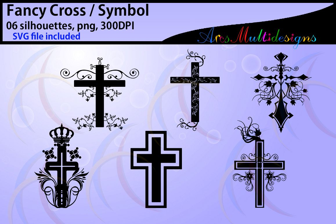 Fancy cross silhouette / 20 fancy cross svg /Silhouettes / vector cross / printable cross silhouettes / Cricut /High Quality / Png / SVG example image 1