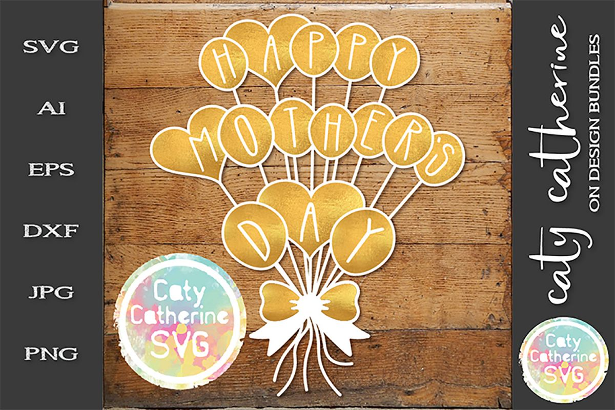 Happy Mother's Day Tied Balloon SVG Cut File example image 1