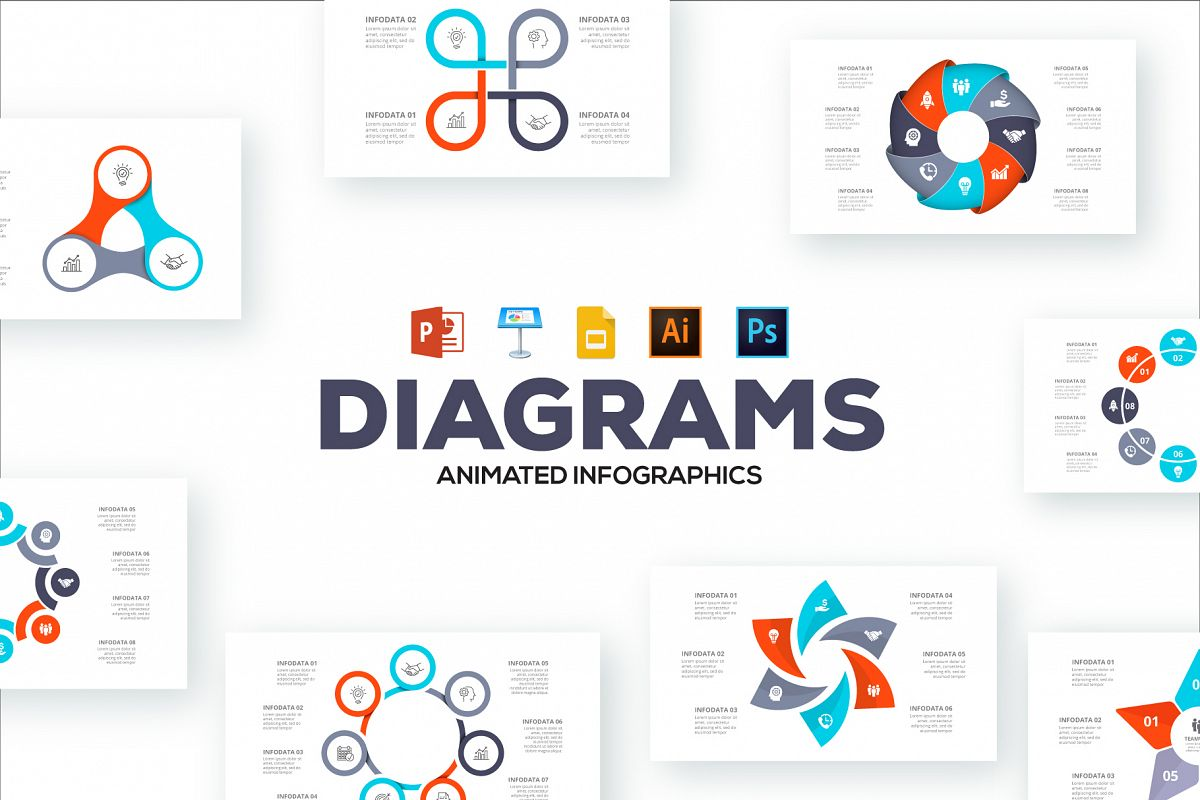 Diagrams animated infographics presentations example image 1