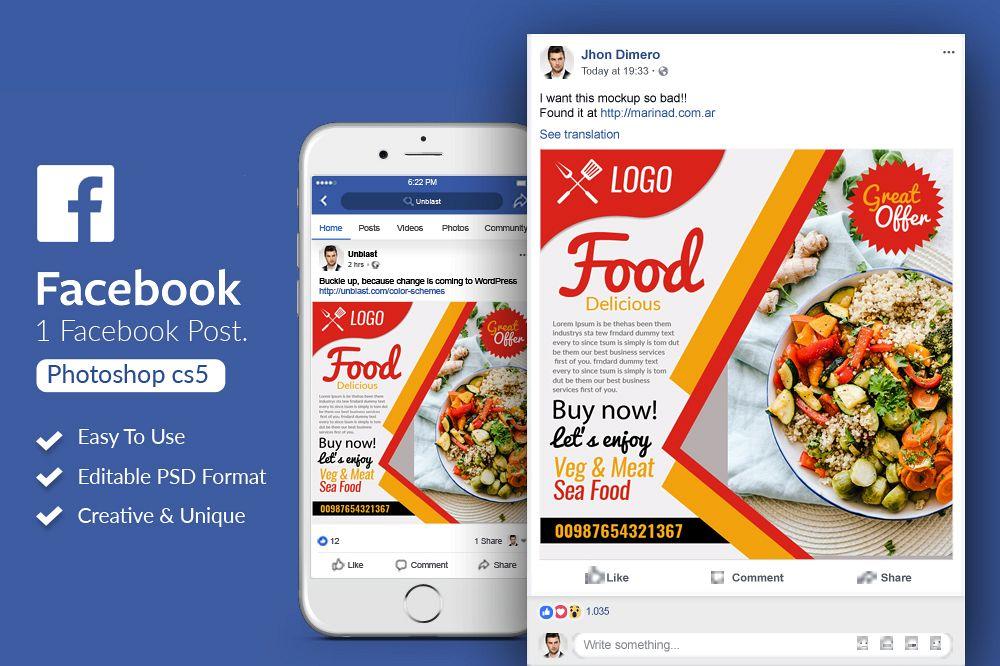 Food Restaurant Facebook Post Banner example image 1
