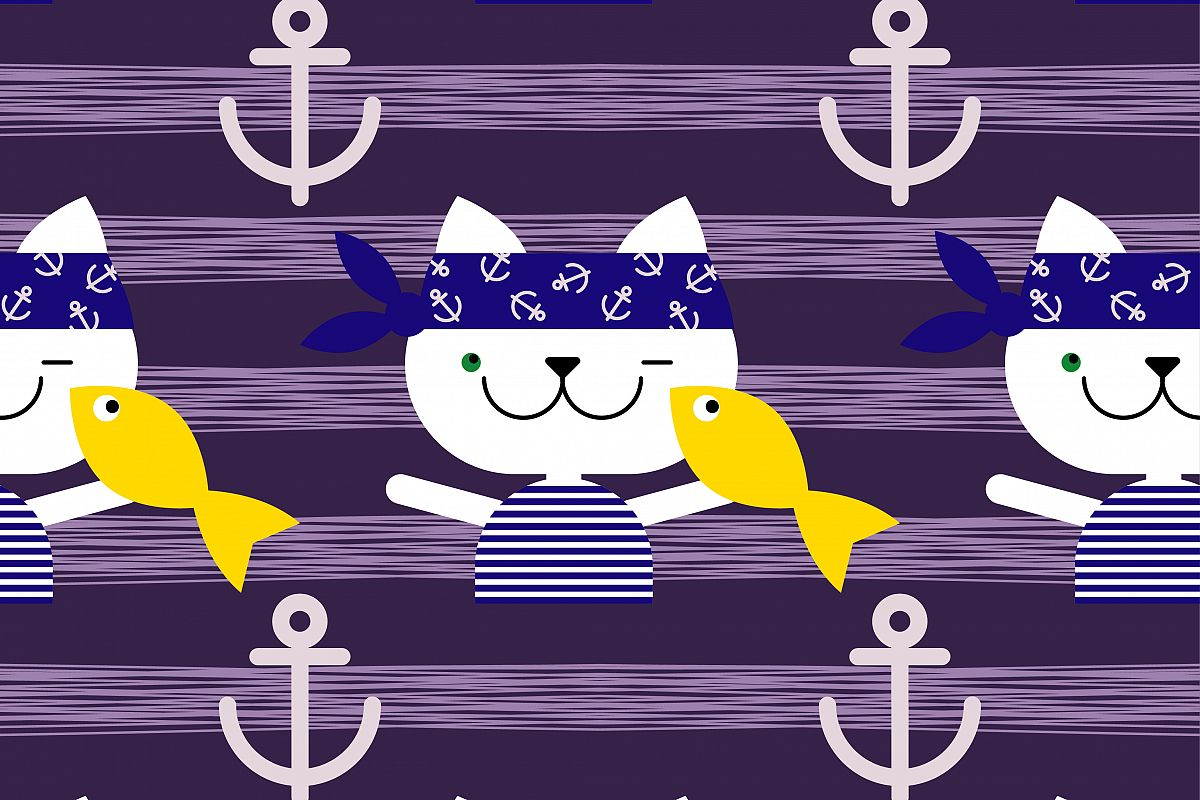 Seamless vector background with cats sailors. Cat with fish. Vector cute illustration. Textile rapport. example image 1