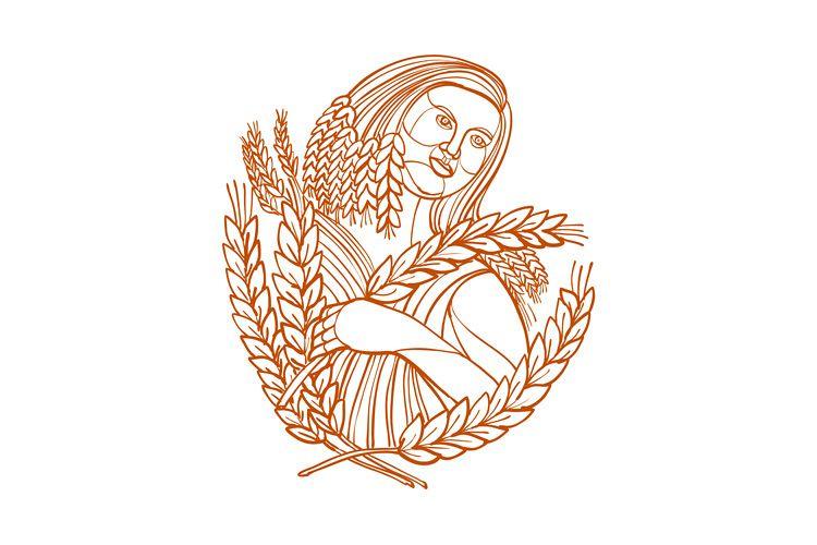 Demeter Goddess of Harvest Mono Line example image 1