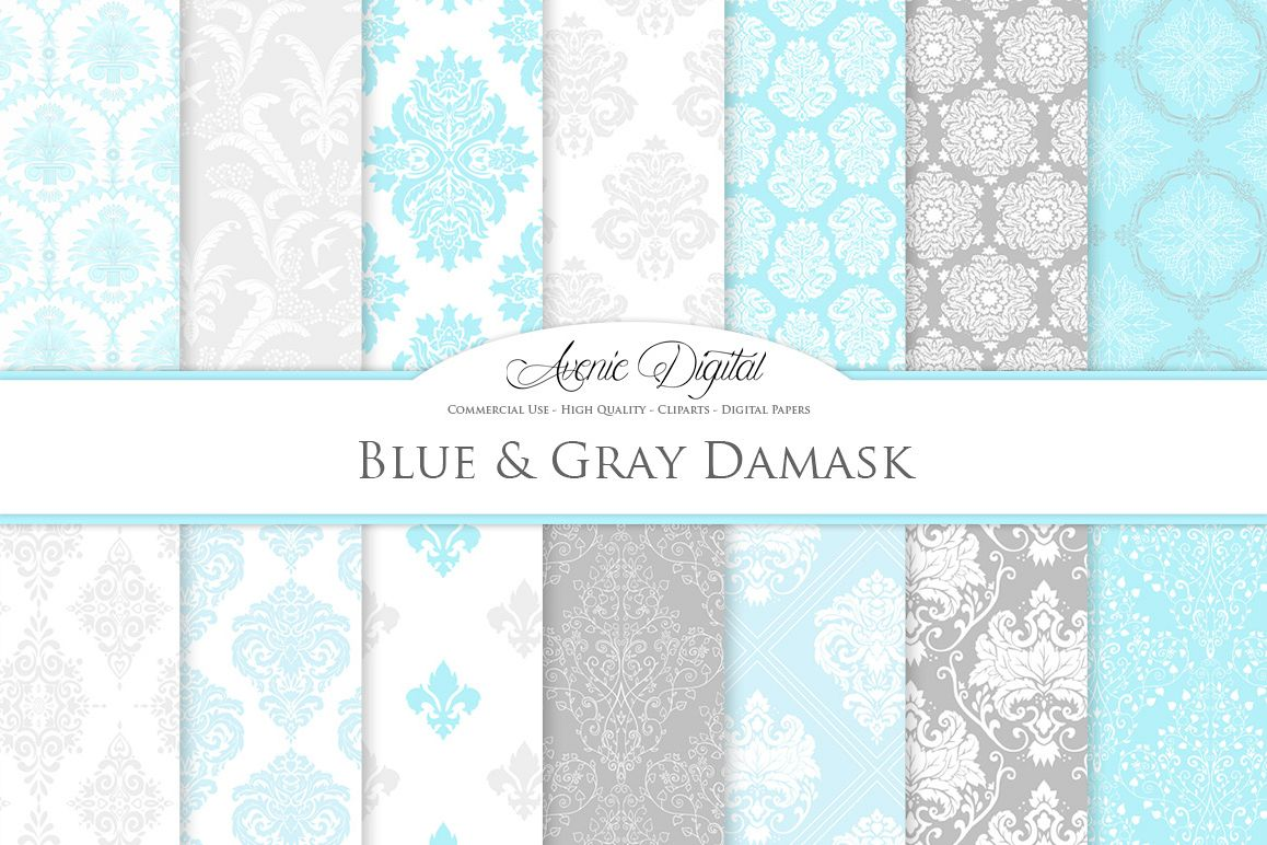 Blue and Grey Damask Patterns - Seamless Digital Papers example image 1
