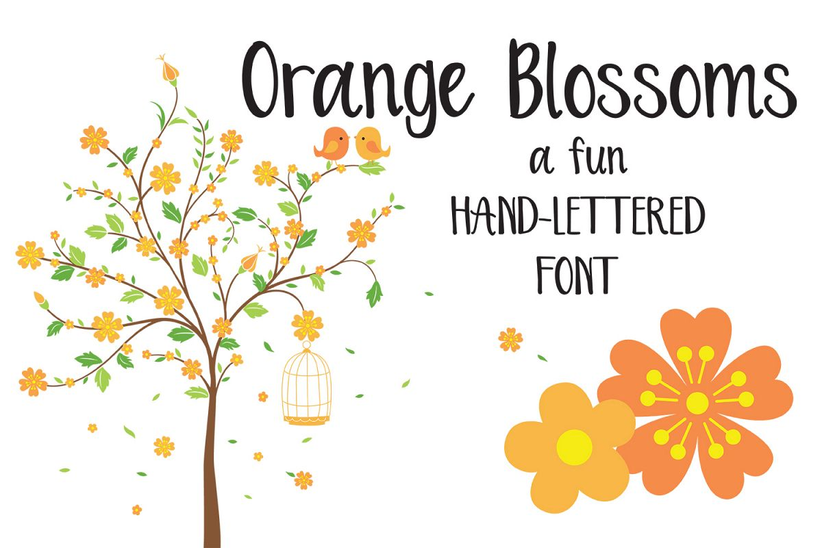 Orange Blossoms - Hand lettered crafting font example image 1