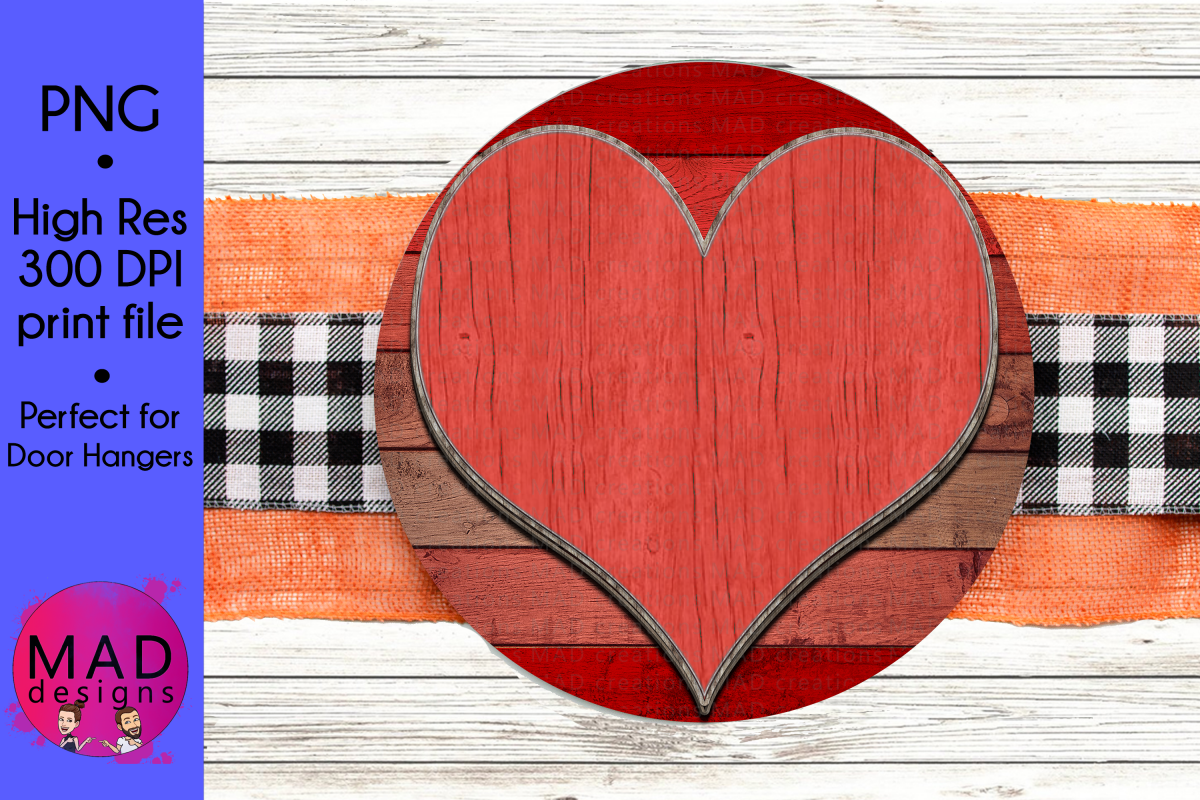 Valentine's Day Heart - Round Door Hanger Sign example image 1