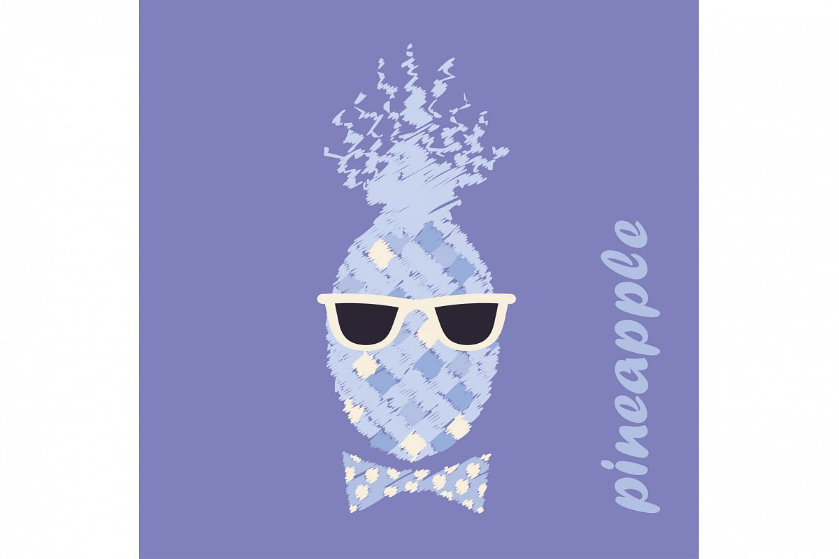 Poster Pineapple with glasses. Vector illustration.  example image 1