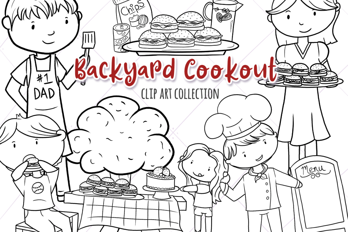 Backyard Cook Out and BBQ Digital Stamps example image 1