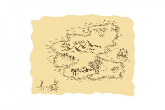 Pirate Treasure Map Sailing Ship Drawing example image 1