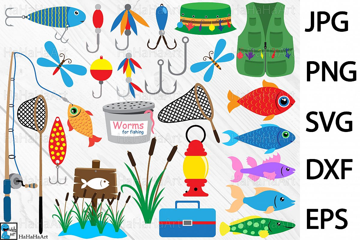 Fishing Designs - Clip art / Cutting Files 101c example image 1