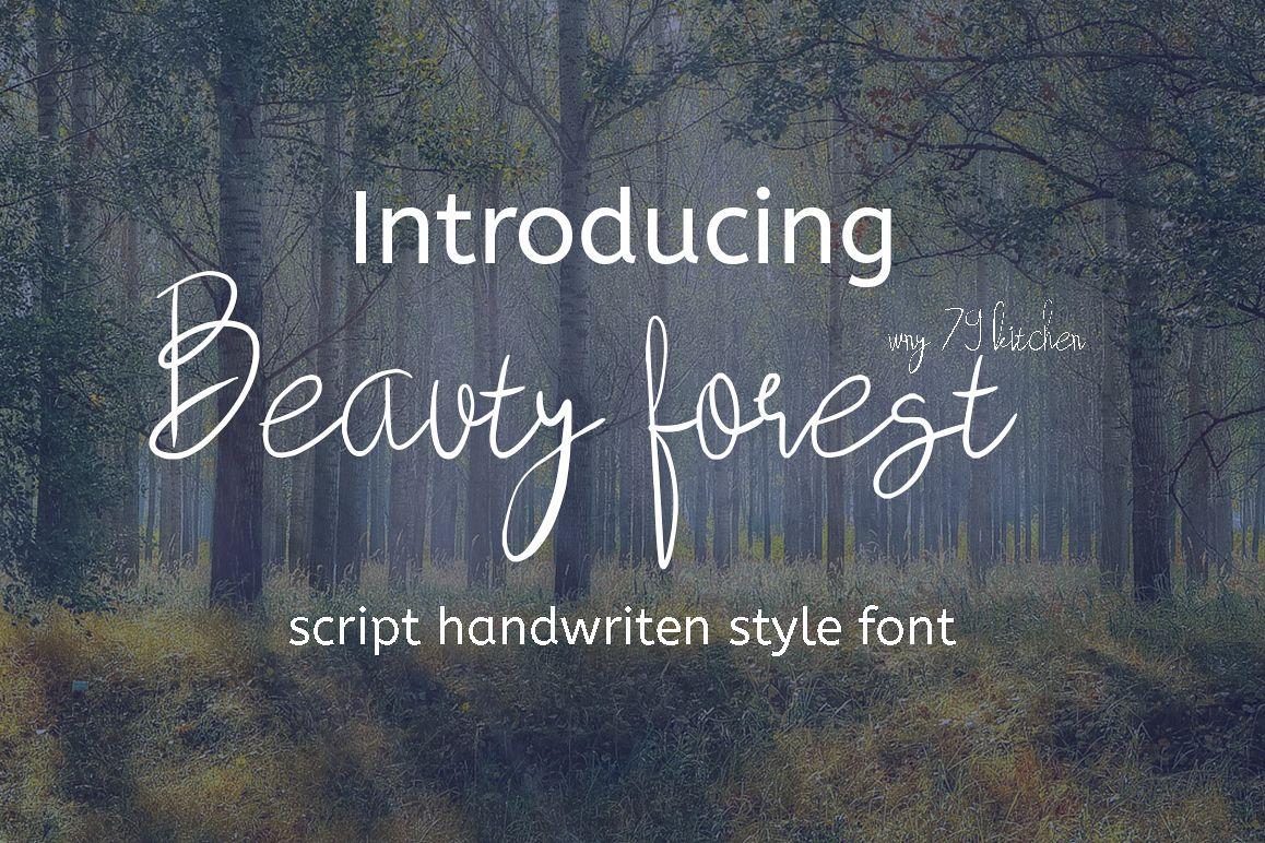 beauty forest script handwritten font example image 1