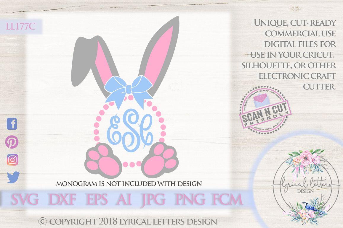 Easter Monogram Frame Rabbit Bunny Ears SVG DXF LL177C example image 1
