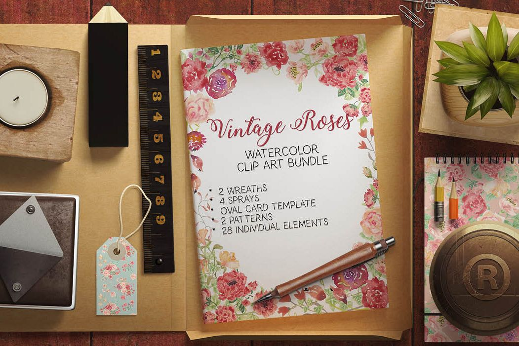 Watercolor clip art bundle: Vintage roses example image 1