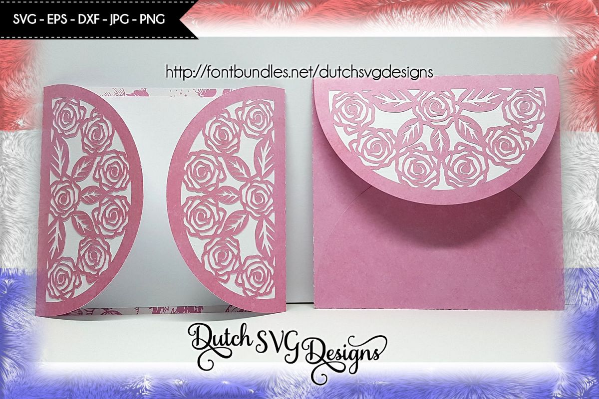 Cutting file blank card with envelop and roses, in Jpg Png SVG EPS DXF, cricut svg, silhouette cut file, card svg, envelop svg, diy, roses svg example image 1