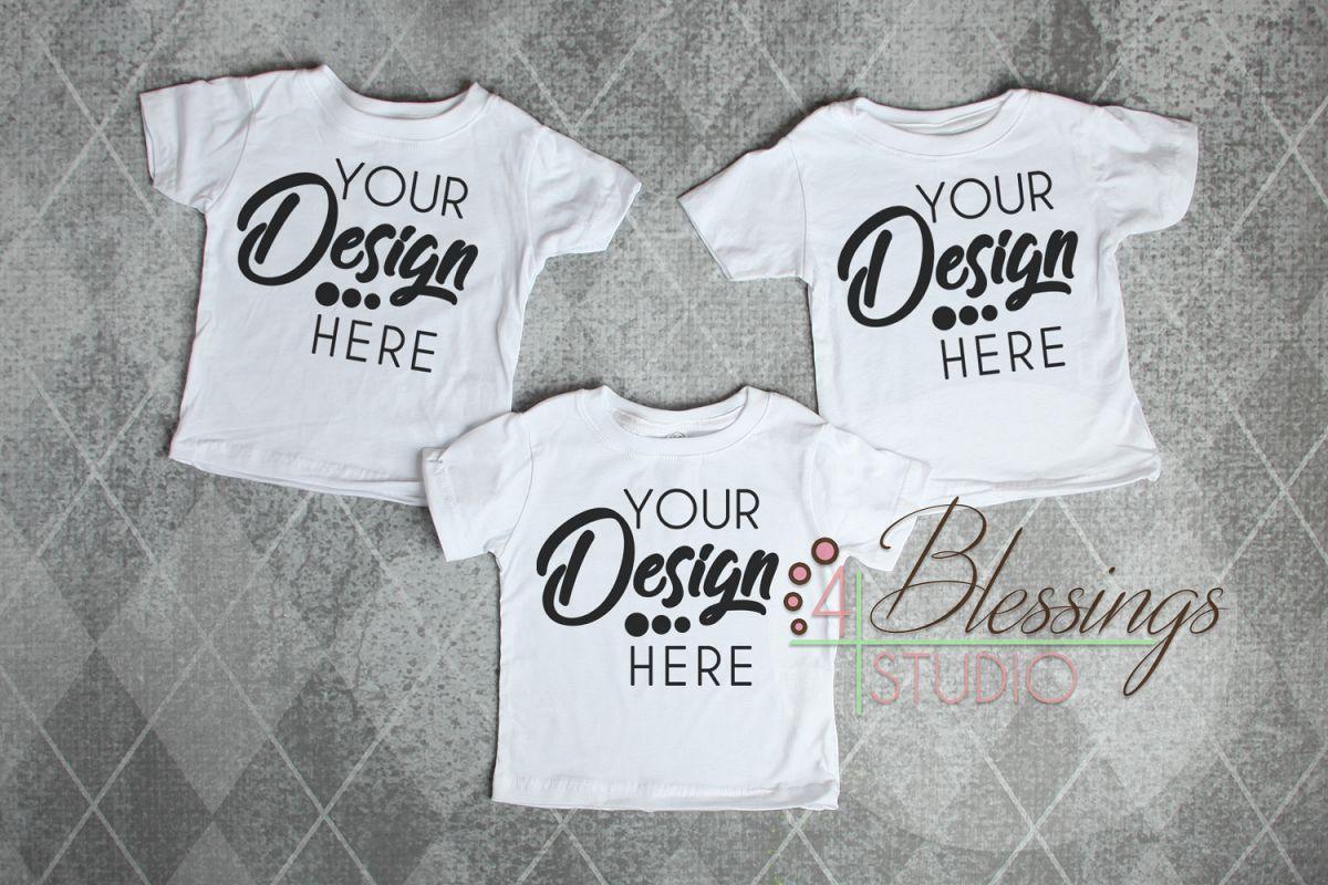 Triplet Three Blank White Kids TShirts Tee Mockup Photo example image 1