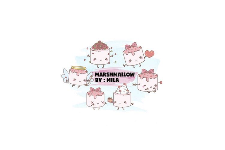 KAWAII VALENTINES DAY MARSHMALLOW CLIPART BUNDLE PNG example image 1