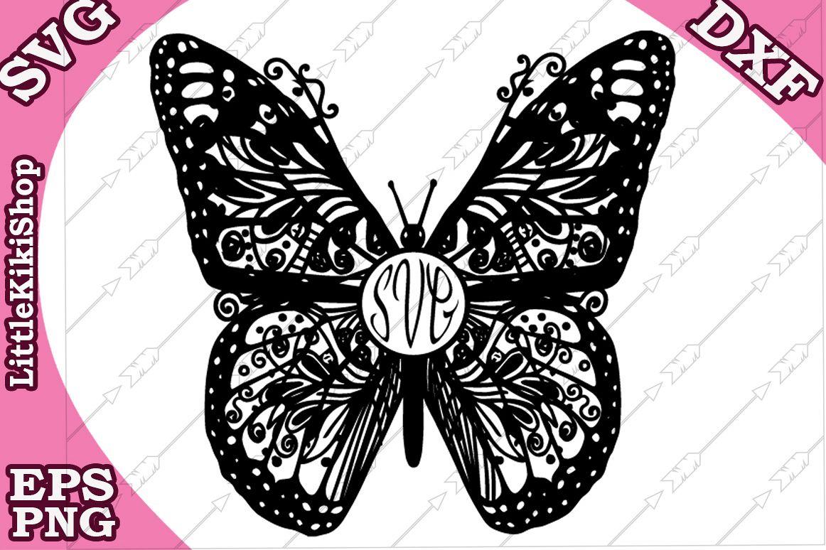 Zentangle Butterfly Monogram Svg Mandala Butterfly Svg example image 1