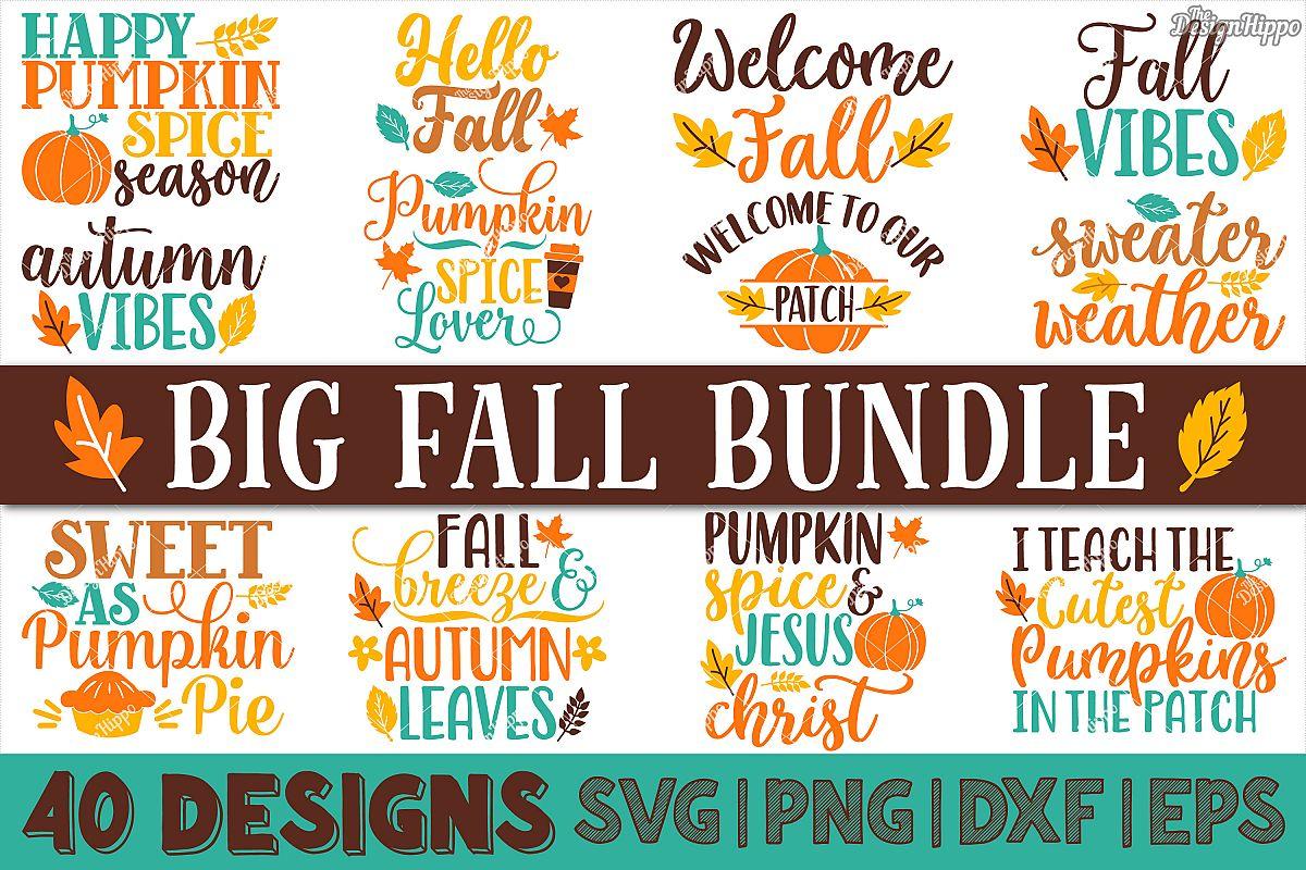 Big Fall Bundle of 40 Designs SVG DXF PNG Cricut Cut Files example image 1