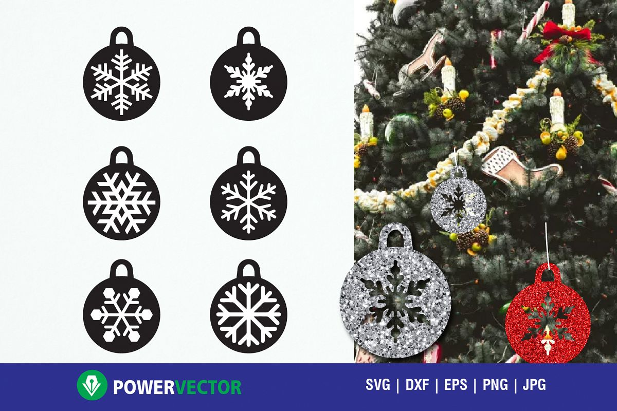 Christmas Tree Decor Baubles Cutting Files Svg Dxf Eps Example Image 1