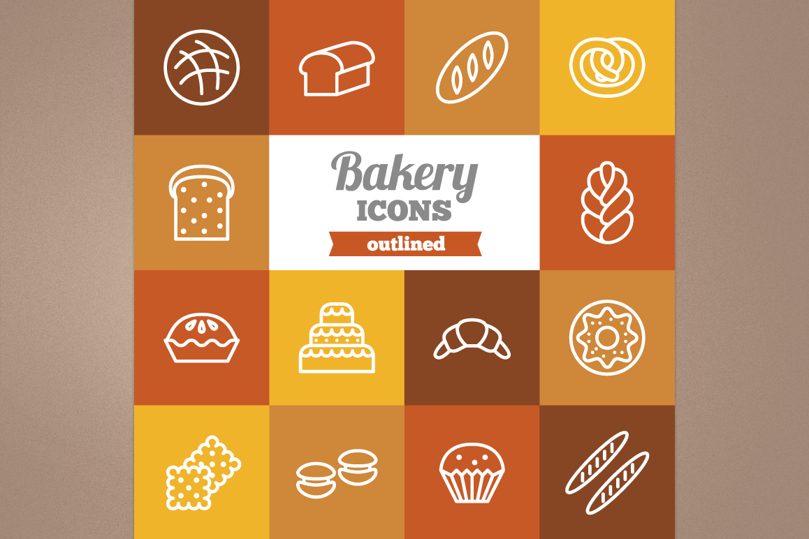 Outlined Bakery Icons example image 1