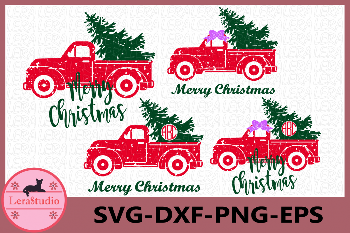 Christmas Tree Truck Svg, Grunge Svg, Truck Monogram Svg example image 1