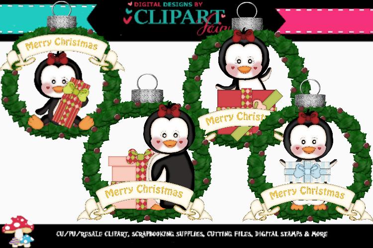 Christmas Penguin Girl Wreath Ornaments example image 1