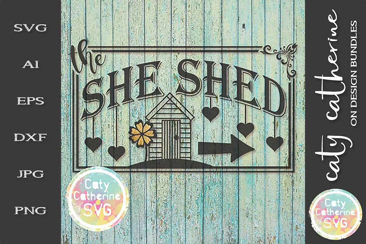 She Shed Sign With Arrow SVG Cut File example image 1