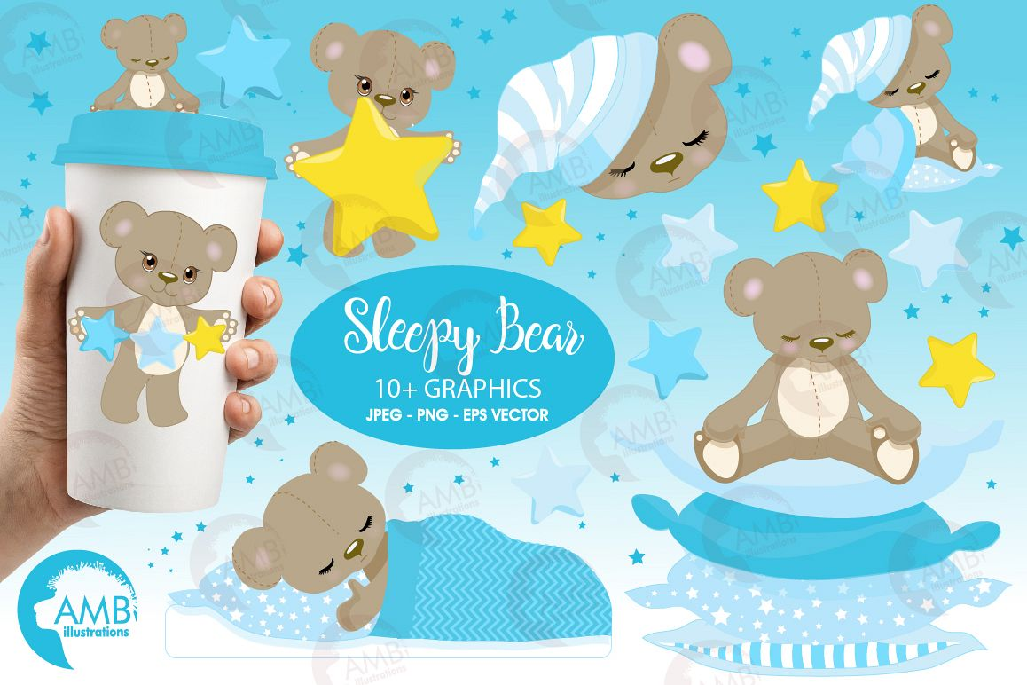 Teddy bear, nursery, baby boy, baby blue bear, clipart, graphics, llustrations AMB-980 example image 1