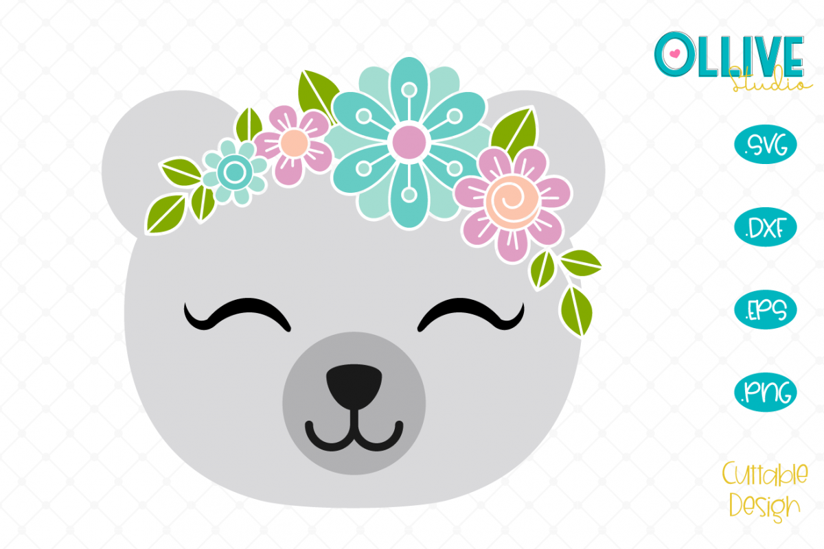 Floral Polar Bear SVG example image 1