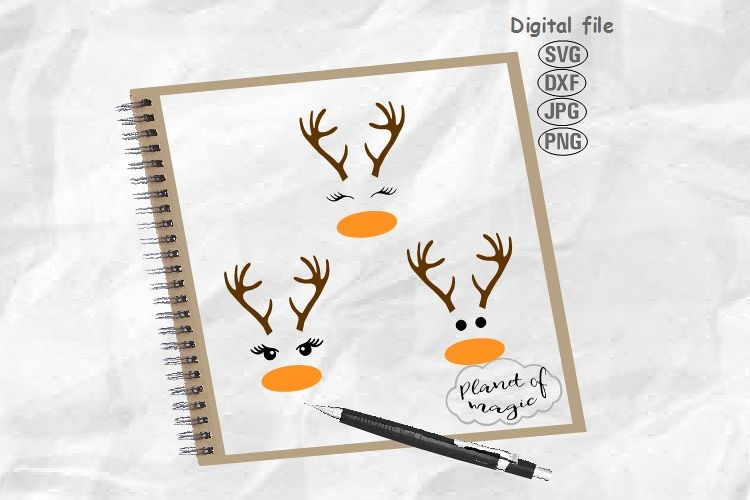 Deer Svg, Deer Face Svg, Reindeer Svg, Reindeer Face Svg example image 1